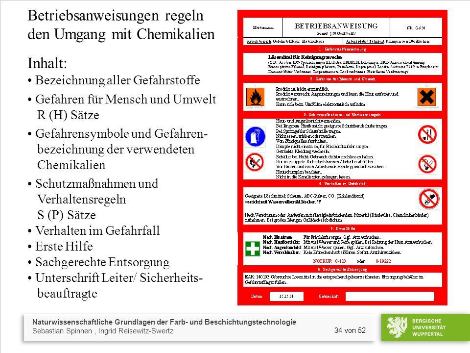 Naturwissenschaftliche Grundlagen der Farb- und Beschichtungstechnologie Sebastian Spinnen, Ingrid Reisewitz-Swertz 34 von 52 Betriebsanweisungen rege