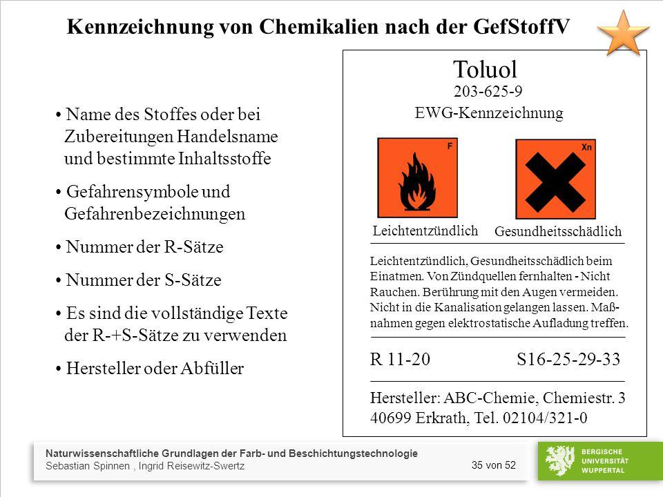 Naturwissenschaftliche Grundlagen der Farb- und Beschichtungstechnologie Sebastian Spinnen, Ingrid Reisewitz-Swertz 35 von 52 Kennzeichnung von Chemik