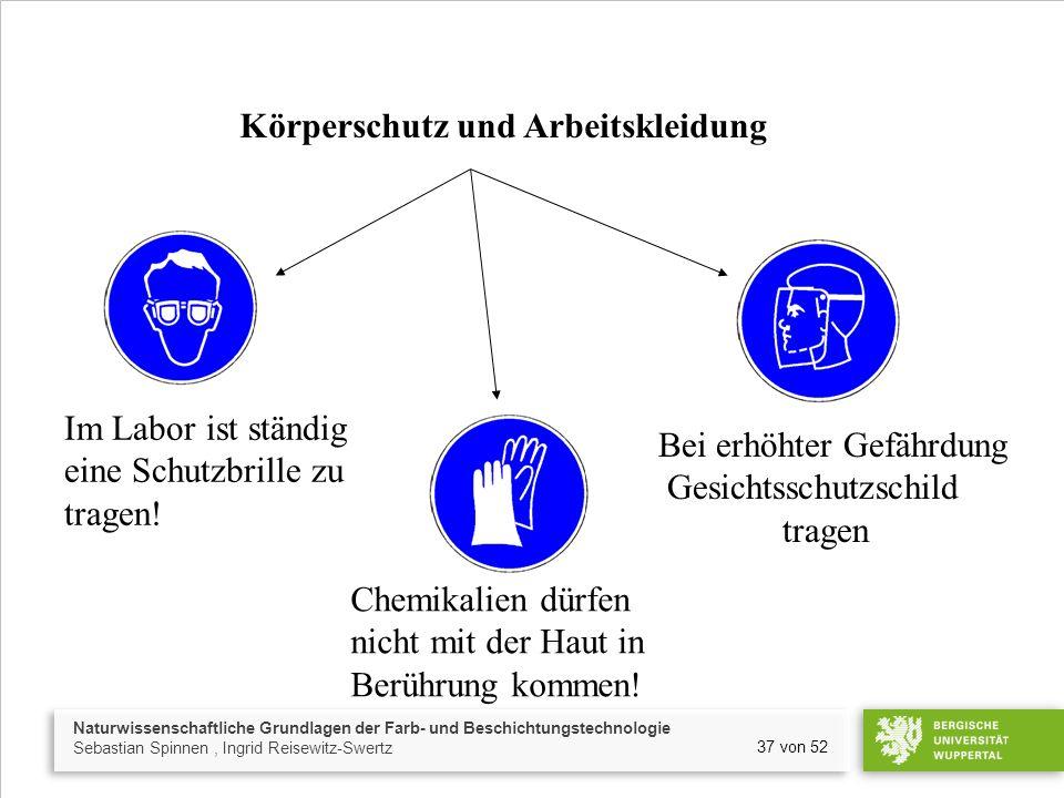 Naturwissenschaftliche Grundlagen der Farb- und Beschichtungstechnologie Sebastian Spinnen, Ingrid Reisewitz-Swertz 37 von 52 Körperschutz und Arbeitskleidung Im Labor ist ständig eine Schutzbrille zu tragen.