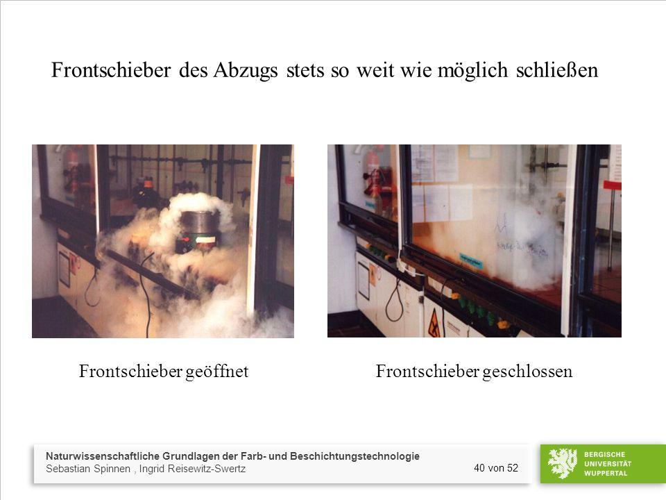 Naturwissenschaftliche Grundlagen der Farb- und Beschichtungstechnologie Sebastian Spinnen, Ingrid Reisewitz-Swertz 40 von 52 Frontschieber des Abzugs