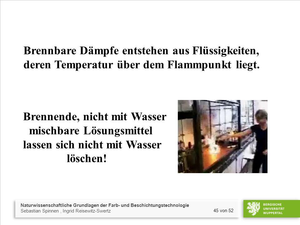 Naturwissenschaftliche Grundlagen der Farb- und Beschichtungstechnologie Sebastian Spinnen, Ingrid Reisewitz-Swertz 45 von 52 Brennende, nicht mit Wasser mischbare Lösungsmittel lassen sich nicht mit Wasser löschen.