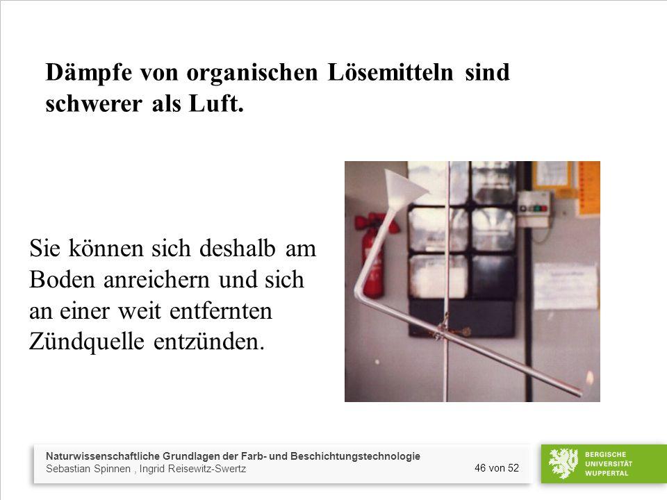Naturwissenschaftliche Grundlagen der Farb- und Beschichtungstechnologie Sebastian Spinnen, Ingrid Reisewitz-Swertz 46 von 52 Dämpfe von organischen L