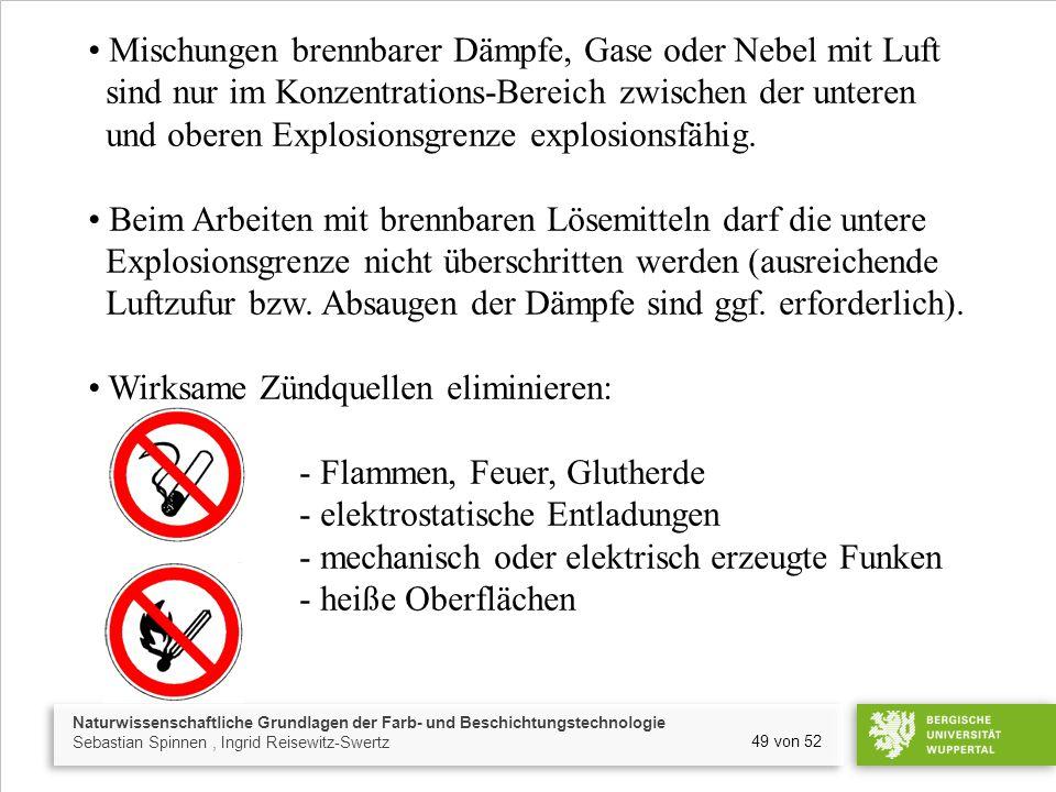 Naturwissenschaftliche Grundlagen der Farb- und Beschichtungstechnologie Sebastian Spinnen, Ingrid Reisewitz-Swertz 49 von 52 Mischungen brennbarer Dä