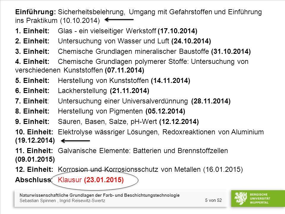 Naturwissenschaftliche Grundlagen der Farb- und Beschichtungstechnologie Sebastian Spinnen, Ingrid Reisewitz-Swertz 5 von 52 Einführung:Sicherheitsbelehrung, Umgang mit Gefahrstoffen und Einführung ins Praktikum (10.10.2014) 1.
