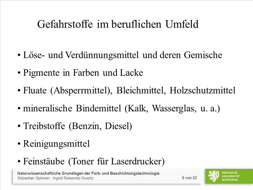 Naturwissenschaftliche Grundlagen der Farb- und Beschichtungstechnologie Sebastian Spinnen, Ingrid Reisewitz-Swertz 9 von 52 Gefahrstoffe im beruflich