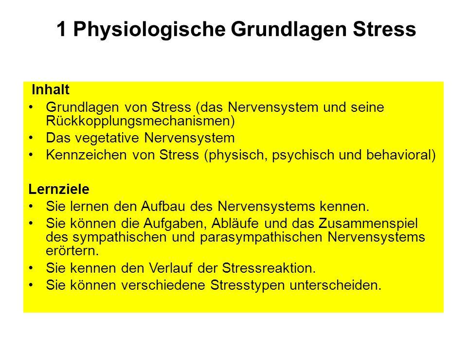 1 Physiologische Grundlagen Stress Inhalt Grundlagen von Stress (das Nervensystem und seine Rückkopplungsmechanismen) Das vegetative Nervensystem Kenn