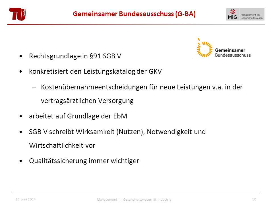 10 Rechtsgrundlage in §91 SGB V konkretisiert den Leistungskatalog der GKV –Kostenübernahmeentscheidungen für neue Leistungen v.a.