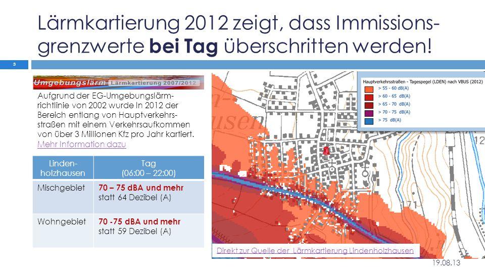 Lärmkartierung 2012 zeigt, dass Immissions- grenzwerte bei Tag überschritten werden! Linden- holzhausen Tag (06:00 – 22:00) Mischgebiet 70 – 75 dBA un