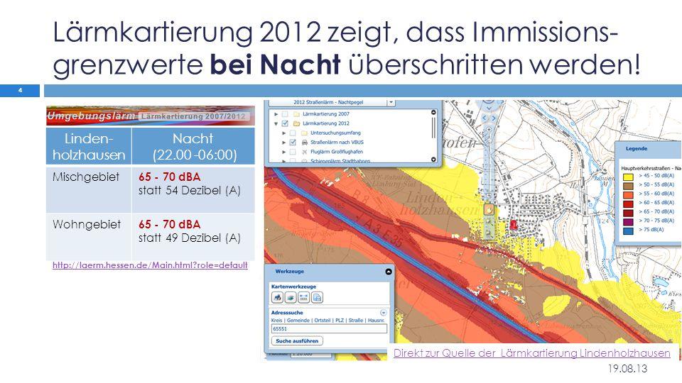 Lärmkartierung 2012 zeigt, dass Immissions- grenzwerte bei Nacht überschritten werden! Linden- holzhausen Nacht (22.00 -06:00) Mischgebiet 65 - 70 dBA