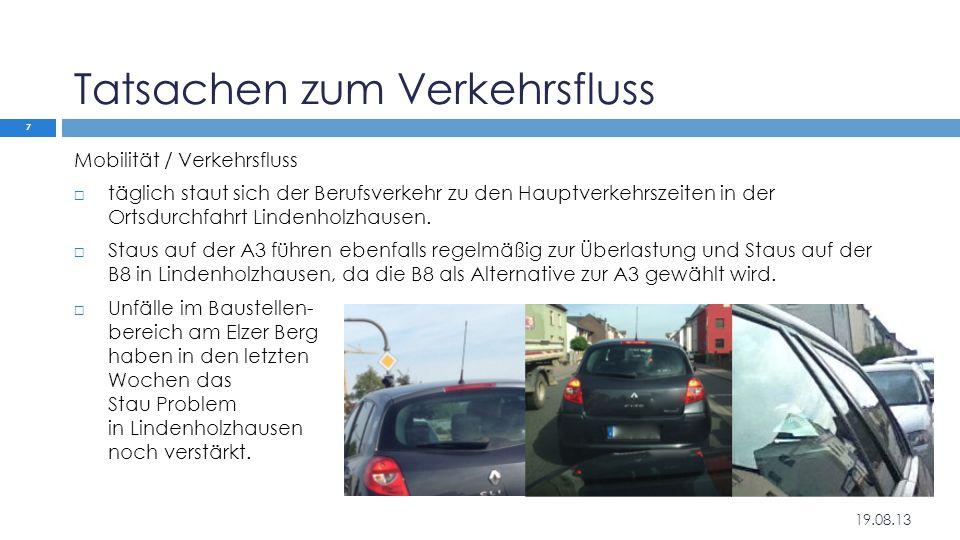 Tatsachen zum Verkehrsfluss Mobilität / Verkehrsfluss  täglich staut sich der Berufsverkehr zu den Hauptverkehrszeiten in der Ortsdurchfahrt Lindenho