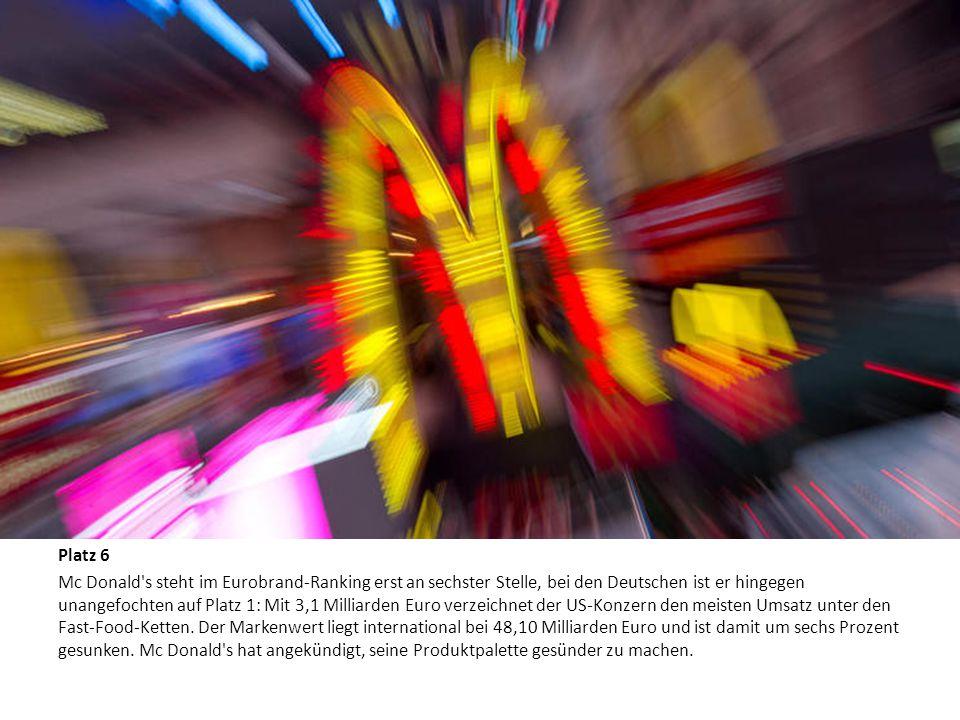 Die zehn wertvollsten Marken der Welt Platz 6 Mc Donald's steht im Eurobrand-Ranking erst an sechster Stelle, bei den Deutschen ist er hingegen unange