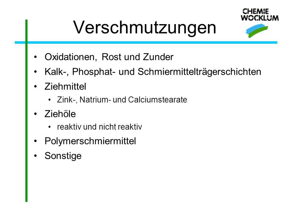 Verschmutzungen Oxidationen, Rost und Zunder Kalk-, Phosphat- und Schmiermittelträgerschichten Ziehmittel Zink-, Natrium- und Calciumstearate Ziehöle