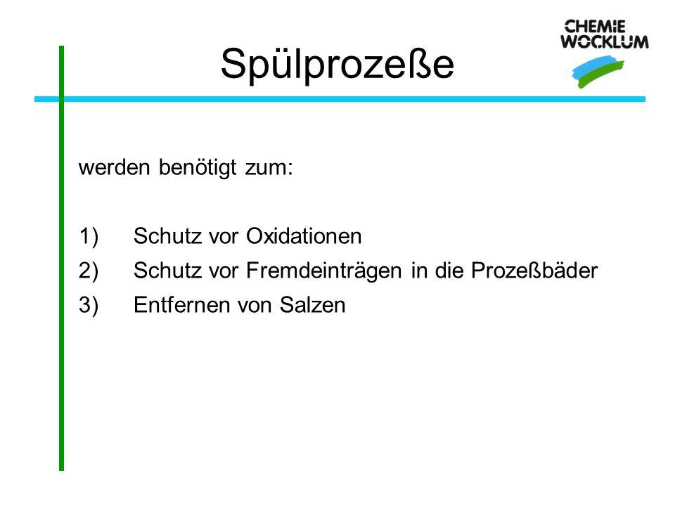 Spülprozeße werden benötigt zum: 1)Schutz vor Oxidationen 2)Schutz vor Fremdeinträgen in die Prozeßbäder 3)Entfernen von Salzen