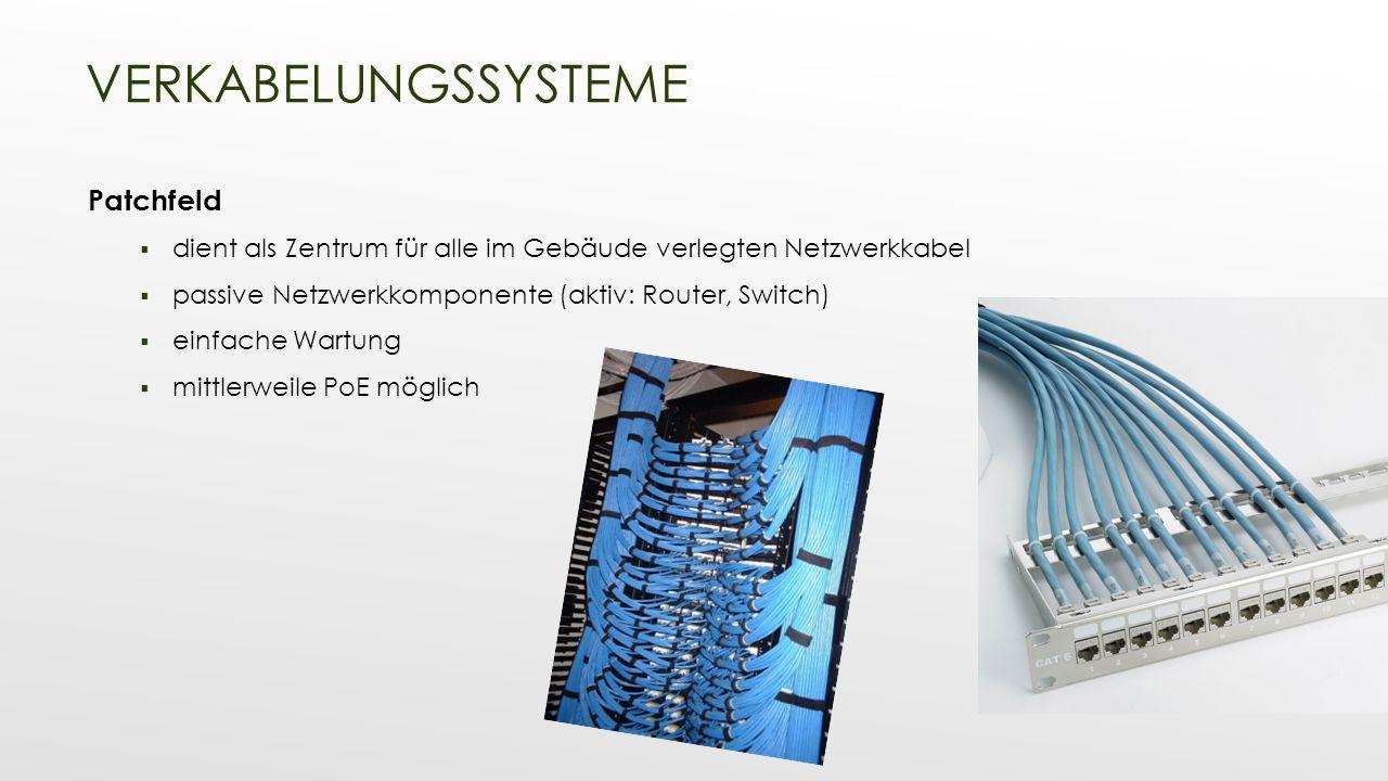 Patchfeld  dient als Zentrum für alle im Gebäude verlegten Netzwerkkabel  passive Netzwerkkomponente (aktiv: Router, Switch)  einfache Wartung  mi