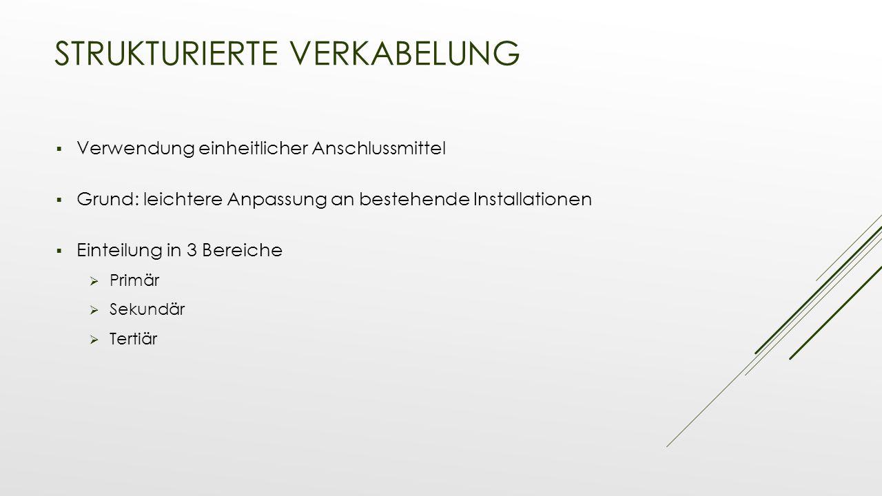 STRUKTURIERTE VERKABELUNG  Verwendung einheitlicher Anschlussmittel  Grund: leichtere Anpassung an bestehende Installationen  Einteilung in 3 Berei