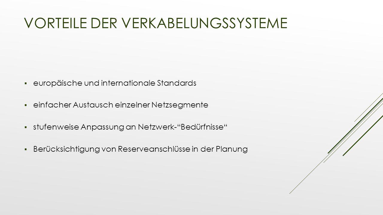 VORTEILE DER VERKABELUNGSSYSTEME  europäische und internationale Standards  einfacher Austausch einzelner Netzsegmente  stufenweise Anpassung an Ne