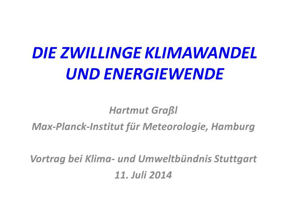 DIE ZWILLINGE KLIMAWANDEL UND ENERGIEWENDE Hartmut Graßl Max-Planck-Institut für Meteorologie, Hamburg Vortrag bei Klima- und Umweltbündnis Stuttgart