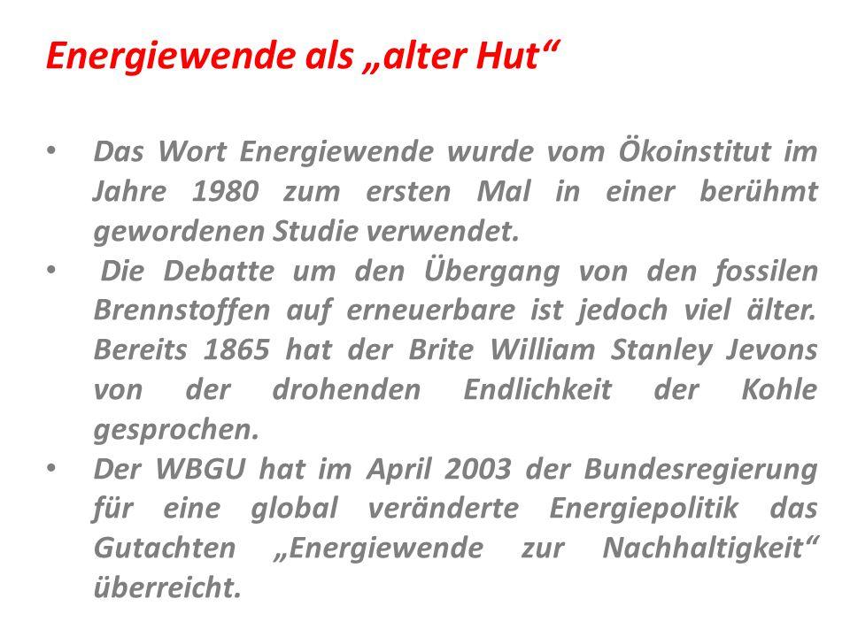 """Energiewende als """"alter Hut"""" Das Wort Energiewende wurde vom Ökoinstitut im Jahre 1980 zum ersten Mal in einer berühmt gewordenen Studie verwendet. Di"""