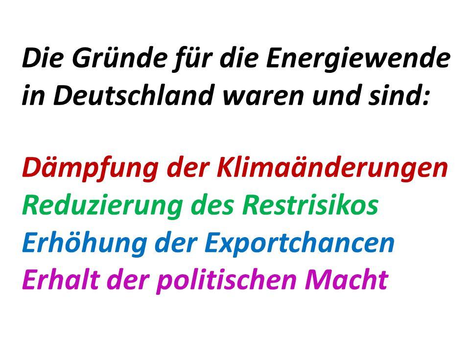 Die Gründe für die Energiewende in Deutschland waren und sind: Dämpfung der Klimaänderungen Reduzierung des Restrisikos Erhöhung der Exportchancen Erh