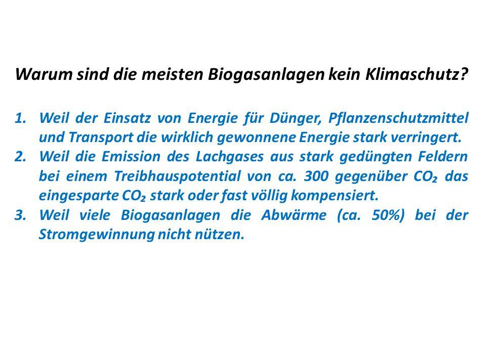 Warum sind die meisten Biogasanlagen kein Klimaschutz? 1.Weil der Einsatz von Energie für Dünger, Pflanzenschutzmittel und Transport die wirklich gewo