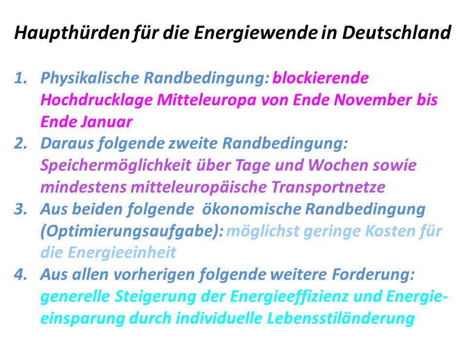 Haupthürden für die Energiewende in Deutschland 1.Physikalische Randbedingung: blockierende Hochdrucklage Mitteleuropa von Ende November bis Ende Janu