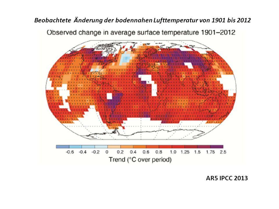 Beobachtete Änderung der bodennahen Lufttemperatur von 1901 bis 2012 AR5 IPCC 2013