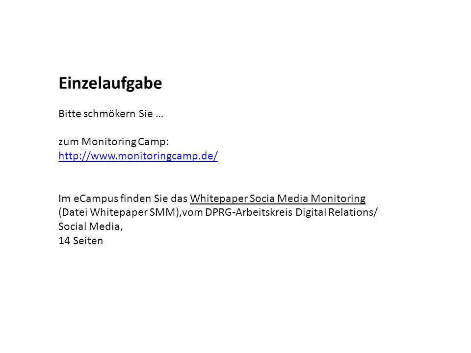 Einzelaufgabe Bitte schmökern Sie … zum Monitoring Camp: http://www.monitoringcamp.de/ Im eCampus finden Sie das Whitepaper Socia Media Monitoring (Da