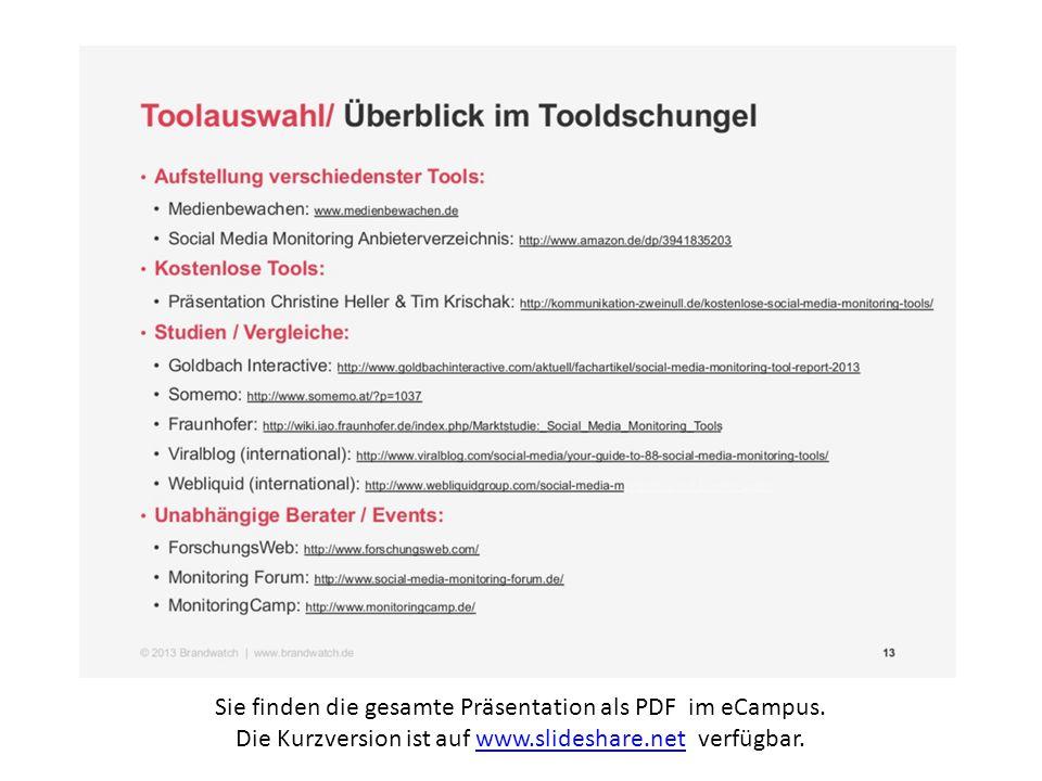 Sie finden die gesamte Präsentation als PDF im eCampus. Die Kurzversion ist auf www.slideshare.net verfügbar.www.slideshare.net