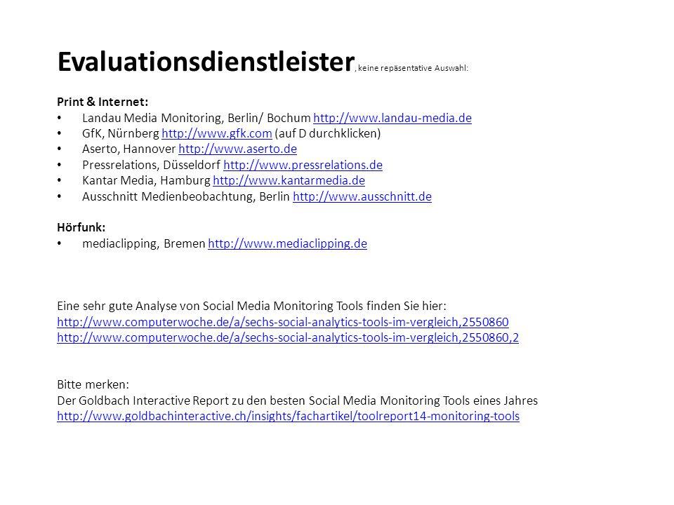 Evaluationsdienstleister, keine repäsentative Auswahl: Print & Internet: Landau Media Monitoring, Berlin/ Bochum http://www.landau-media.dehttp://www.