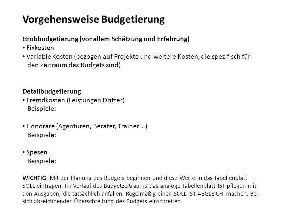 Vorgehensweise Budgetierung Grobbudgetierung (vor allem Schätzung und Erfahrung) Fixkosten Variable Kosten (bezogen auf Projekte und weitere Kosten, d