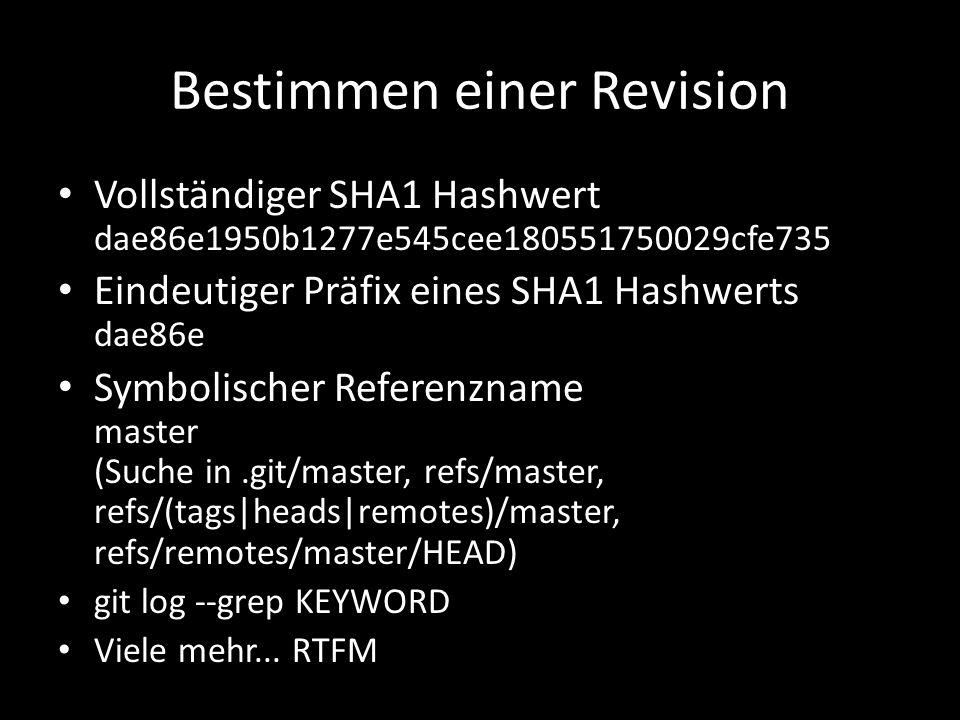 Bestimmen einer Revision Vollständiger SHA1 Hashwert dae86e1950b1277e545cee180551750029cfe735 Eindeutiger Präfix eines SHA1 Hashwerts dae86e Symbolischer Referenzname master (Suche in.git/master, refs/master, refs/(tags|heads|remotes)/master, refs/remotes/master/HEAD) git log --grep KEYWORD Viele mehr...