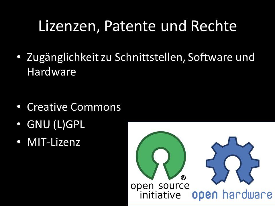 Lizenzen, Patente und Rechte Zugänglichkeit zu Schnittstellen, Software und Hardware Creative Commons GNU (L)GPL MIT-Lizenz