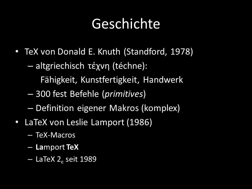Geschichte TeX von Donald E.