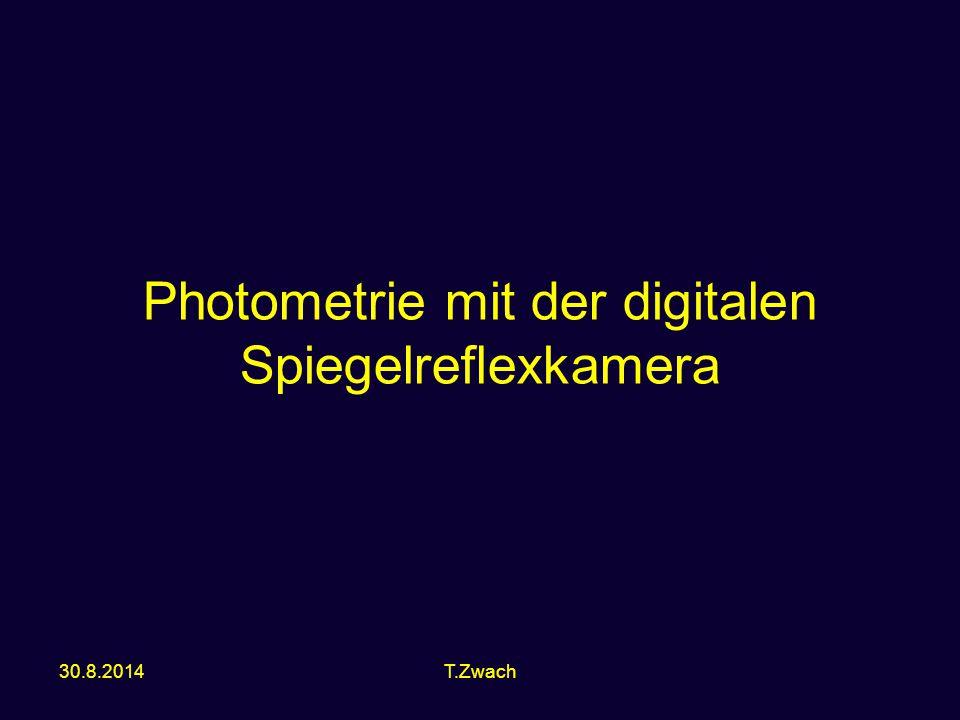 Grundlagen Was ist Photometrie –Misst die Stärke der Strahlung (Strahlungsstrom s) –s = beim Beobachter ankommender Strahlungsstrom = pro Flächen- und Zeiteinheit aufgefangene Lichtmenge = Beleuchtungsstärke 2 Photometrie mit der digitalen Spiegelreflexkamera, T.