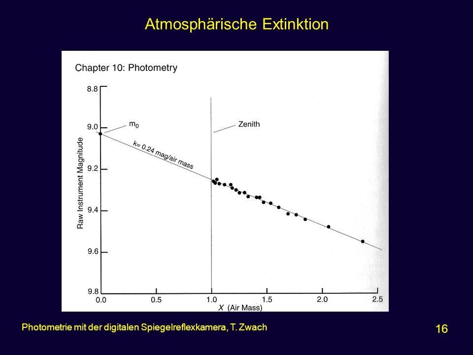 Atmosphärische Extinktion 16 Photometrie mit der digitalen Spiegelreflexkamera, T. Zwach
