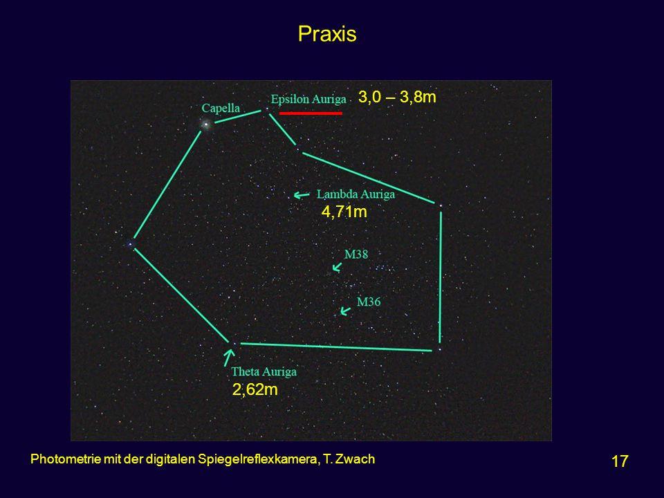 Praxis 17 Photometrie mit der digitalen Spiegelreflexkamera, T. Zwach 3,0 – 3,8m 4,71m 2,62m