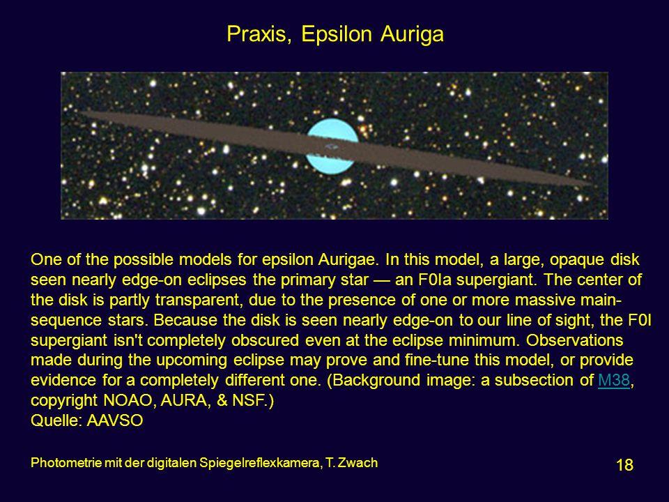 Praxis, Epsilon Auriga 18 Photometrie mit der digitalen Spiegelreflexkamera, T. Zwach One of the possible models for epsilon Aurigae. In this model, a