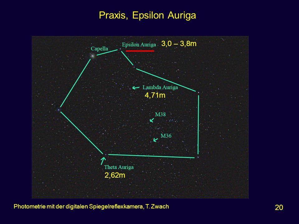 Praxis, Epsilon Auriga 20 Photometrie mit der digitalen Spiegelreflexkamera, T. Zwach 3,0 – 3,8m 4,71m 2,62m