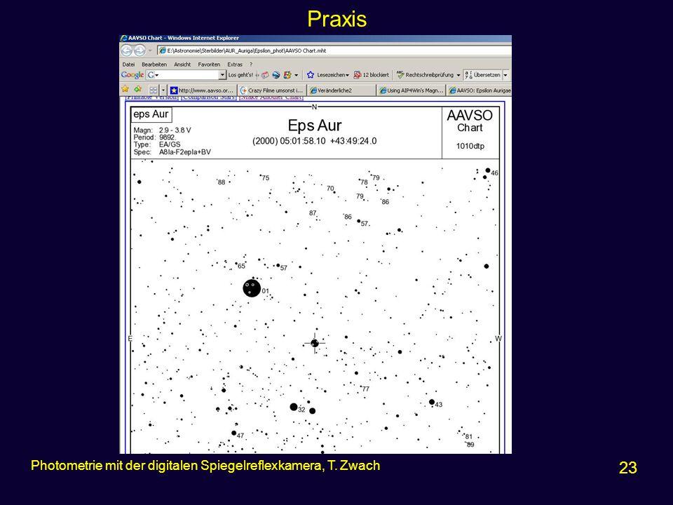 Praxis 23 Photometrie mit der digitalen Spiegelreflexkamera, T. Zwach