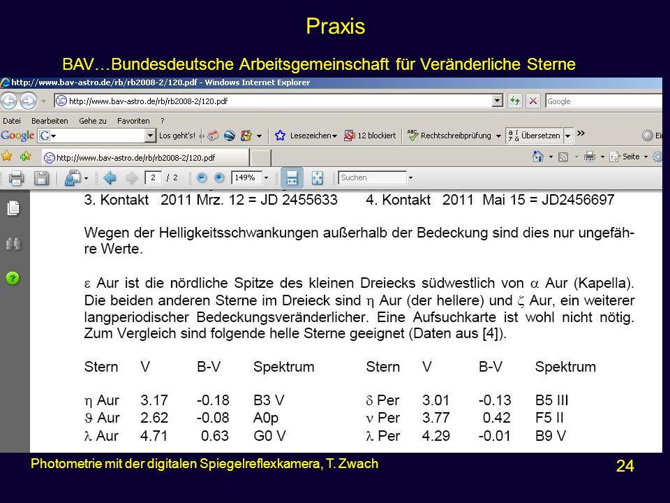 Praxis 24 Photometrie mit der digitalen Spiegelreflexkamera, T. Zwach BAV…Bundesdeutsche Arbeitsgemeinschaft für Veränderliche Sterne