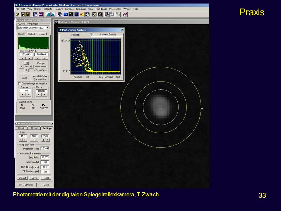 Praxis 33 Photometrie mit der digitalen Spiegelreflexkamera, T. Zwach