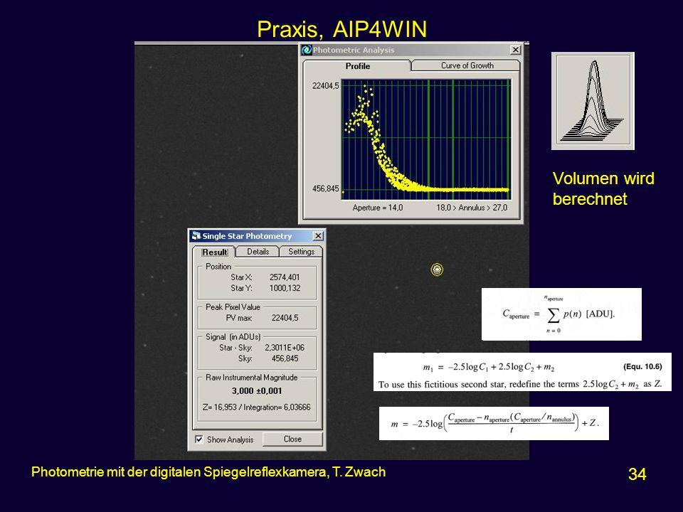 Praxis, AIP4WIN 34 Photometrie mit der digitalen Spiegelreflexkamera, T. Zwach Volumen wird berechnet