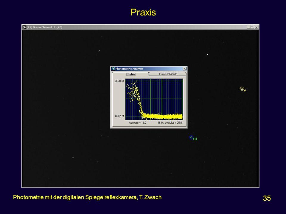 Praxis 35 Photometrie mit der digitalen Spiegelreflexkamera, T. Zwach