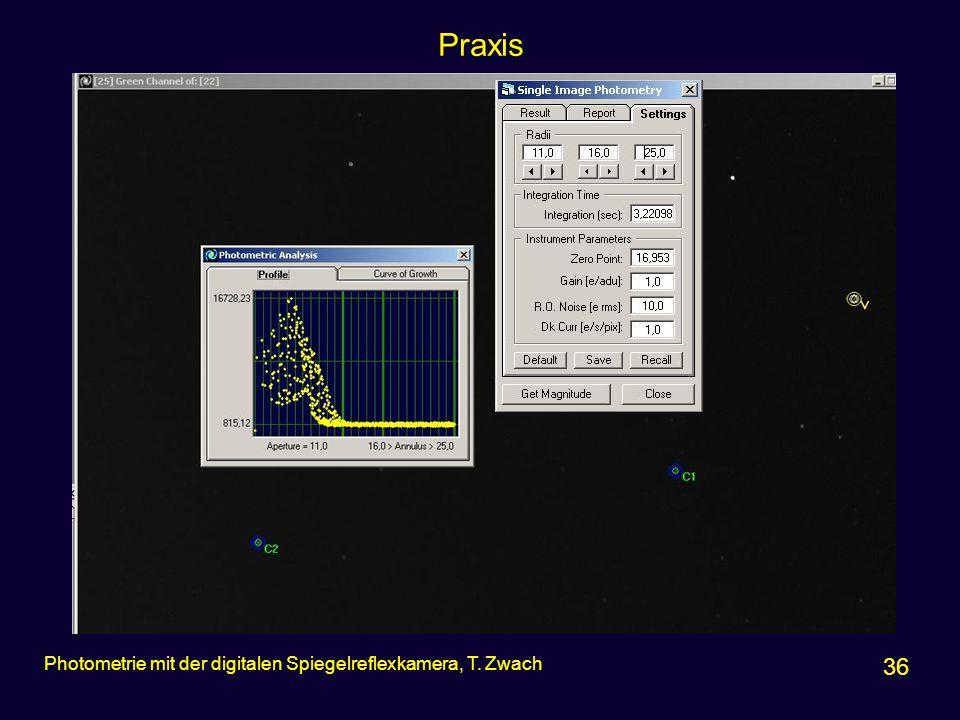 Praxis 36 Photometrie mit der digitalen Spiegelreflexkamera, T. Zwach