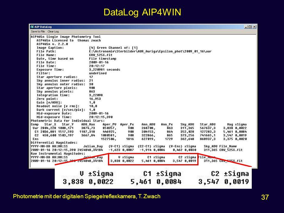 DataLog AIP4WIN 37 Photometrie mit der digitalen Spiegelreflexkamera, T. Zwach