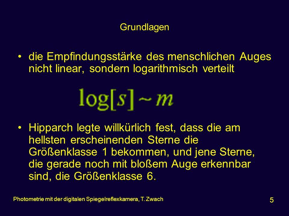 Grundlagen –Größenklassensystem nach Pogson (1829-1891) 6 Photometrie mit der digitalen Spiegelreflexkamera, T.