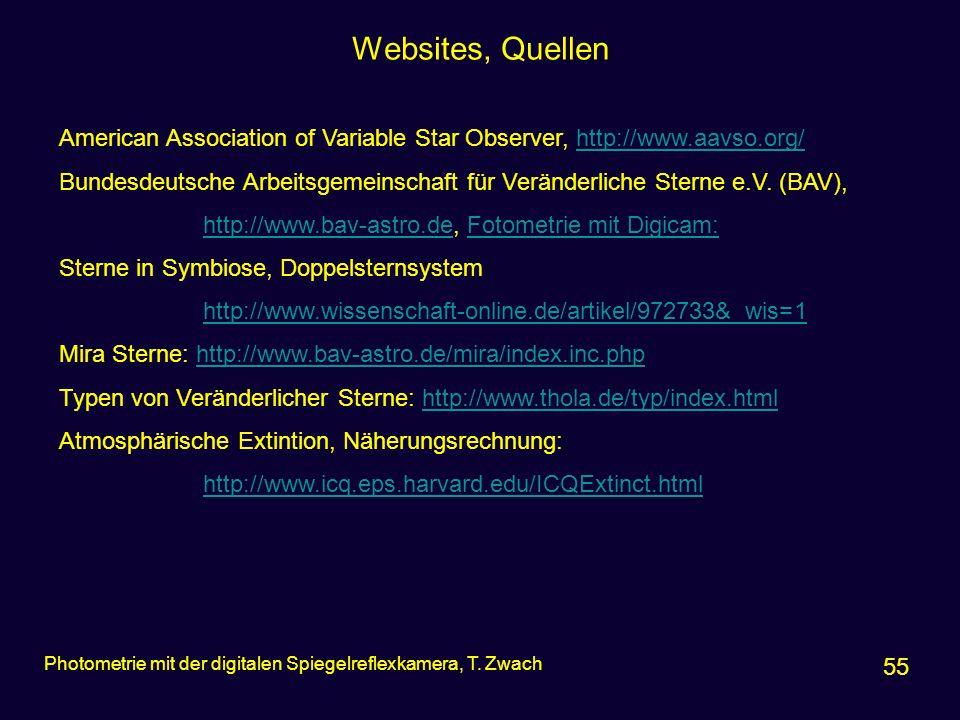 Websites, Quellen 55 Photometrie mit der digitalen Spiegelreflexkamera, T. Zwach American Association of Variable Star Observer, http://www.aavso.org/