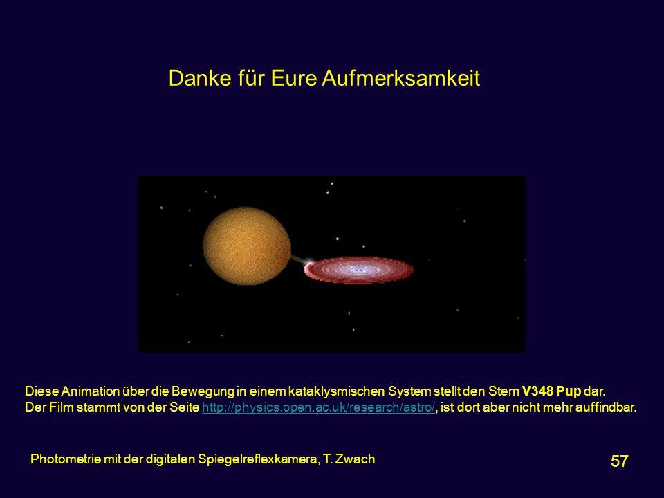 57 Photometrie mit der digitalen Spiegelreflexkamera, T. Zwach Diese Animation über die Bewegung in einem kataklysmischen System stellt den Stern V348