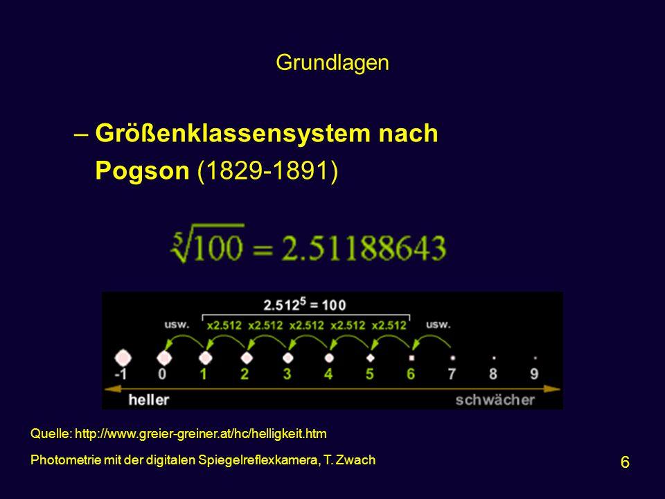 Grundlagen –Größenklassensystem nach Pogson (1829-1891) 6 Photometrie mit der digitalen Spiegelreflexkamera, T. Zwach Quelle: http://www.greier-greine