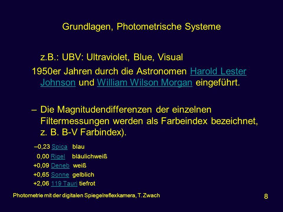 Grundlagen, Photometrische Systeme z.B.: UBV: Ultraviolet, Blue, Visual 1950er Jahren durch die Astronomen Harold Lester Johnson und William Wilson Mo
